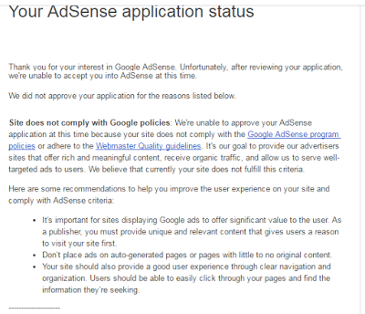 google adsense rejected mail